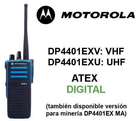 Walkie MOTOROLA ATEX DIGITAL DP4401EX y DP4401EX MA con 32 canales